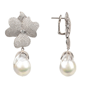 White Flower Baroque Pearl Drop Earring Silver - My Beautiful Daughters