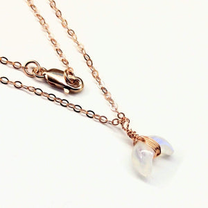 Rose Gold Wire Wrapped Crescent Moonstone Necklace