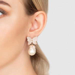 White Butterfly Baroque Pearl Earring Silver - My Beautiful Daughters