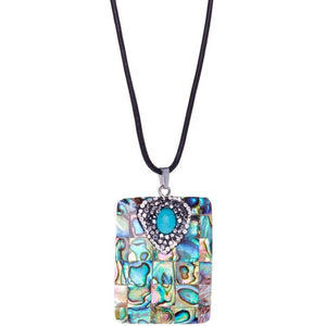 Square Abalone Shell Pendant on 18 inch Leather Necklace - My Beautiful Daughters