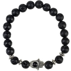 Hamsa Beaded Silver Bracelet Lava Stone by LÁTELITA London - My Beautiful Daughters