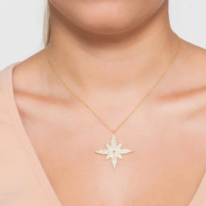 Star Flower Pendant Necklace Gold
