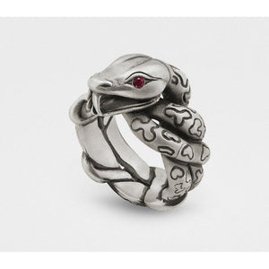 Snake Ring with Rubies in Sterling Silver from Snake Bones - My Beautiful Daughters