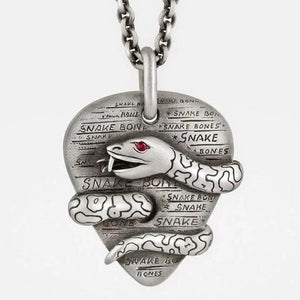 Plectrum (Guitar Pick) Pendant with Snake, Ruby Eye on Silver Chain - My Beautiful Daughters