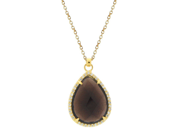 Smoky CZ Tear Drop Necklace - The Fronay Collection