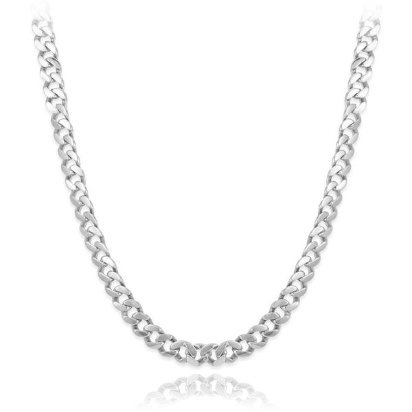 "Italian 7.5mm Solid 925 Platinum Plated Sterling Silver Beveled Cuban Curb Link Chain 26"" - My Beautiful Daughters"