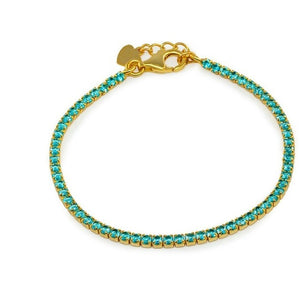 Girls Mini Aqua Tennis Bracelet | Gold Plated Sterling Silver - My Beautiful Daughters