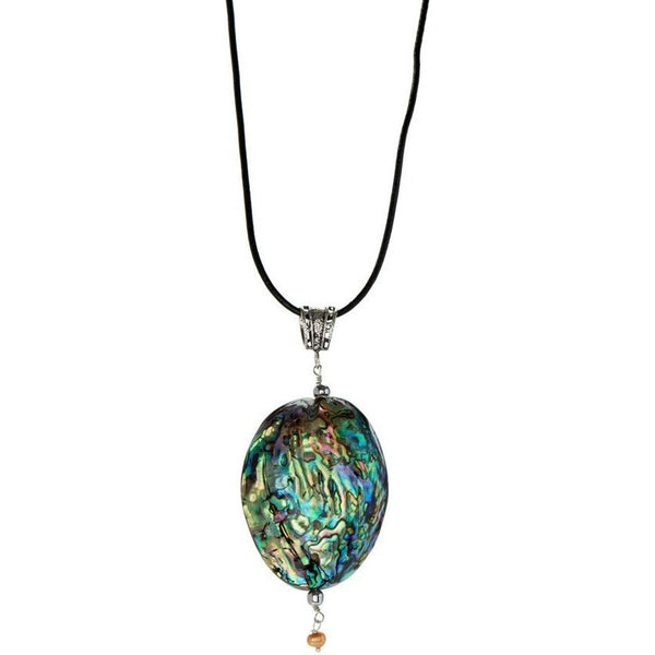 Abalone Shell Pendant on Leather Necklace - My Beautiful Daughters
