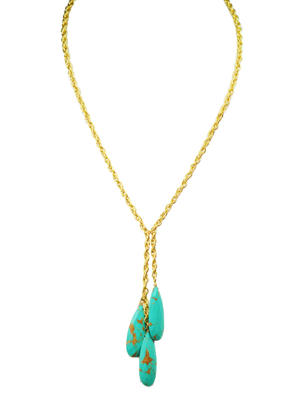 Triple Turquoise Necklace Handcrafted by Gena Myint