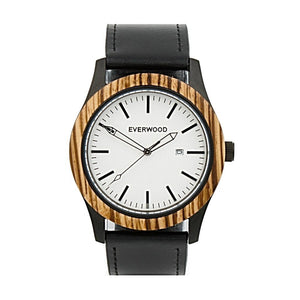Inverness by Everwood Watch Company | Zebrawood Black Leather