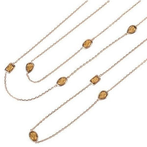 Venice Long Chain Necklace Rosegold Smokey Quartz by Latelita London - My Beautiful Daughters