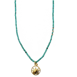 Turquoise Big Lotus Talisman Necklace By SÍSÍ Design - My Beautiful Daughters