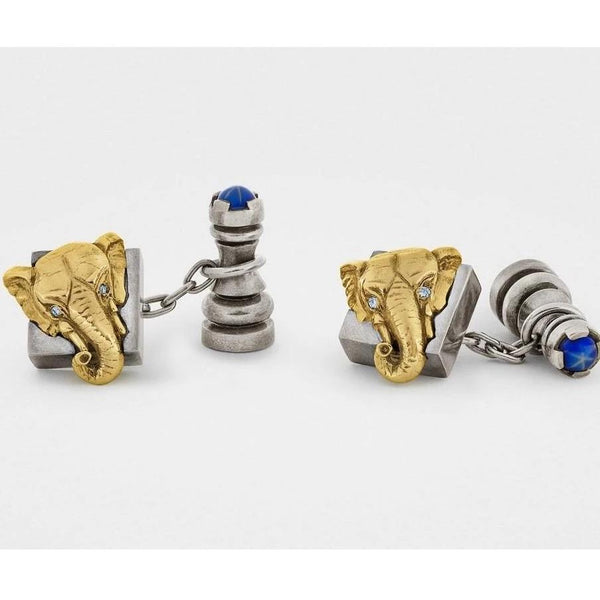 Chess Cufflinks in Sterling Silver - 18K Gold with Diamonds and Gemstones - My Beautiful Daughters