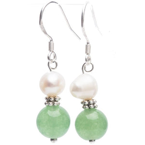 Lana Gemstone, Pearl and Tibetan Silver Earrings - My Beautiful Daughters