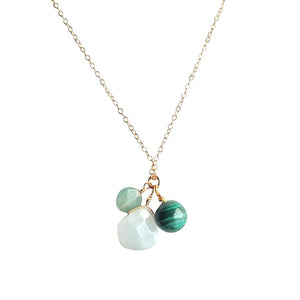 Transformation & Strength - Amazonite, Aventurine and Malachite Gold Filled Necklace
