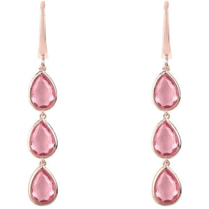 Sorrento Triple Drop Earring Rosegold Pink Tourmaline - My Beautiful Daughters