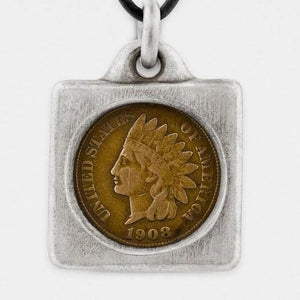 Snake Bones Indian Head Penny Coin in Solid Sterling Silver Frame - My Beautiful Daughters