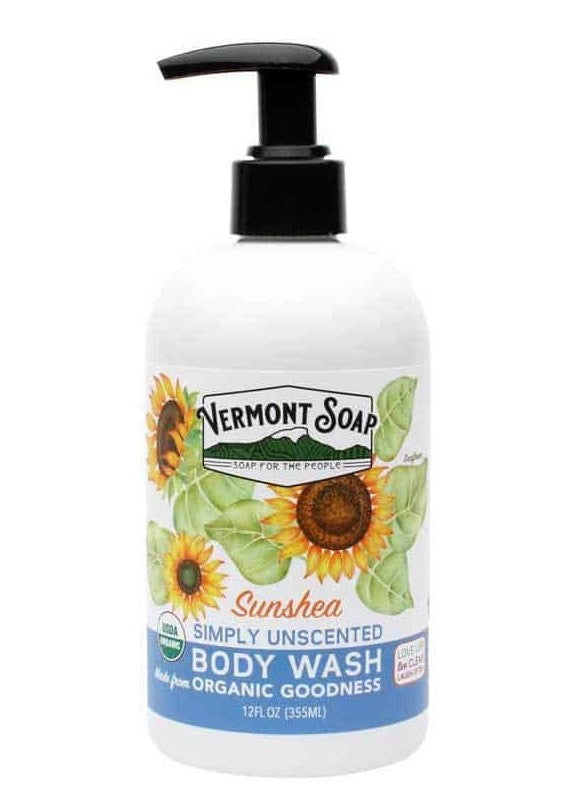 Vermont Soap Simply Unscented Body Wash 12oz Pump