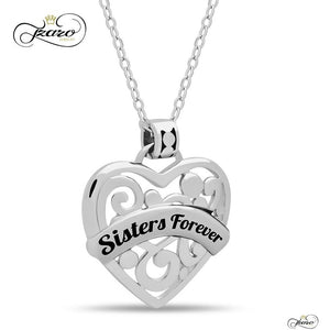 "Sister Heart Silver Plated Necklace 925 Silver, Engraved w ""Sisters Forever"" - My Beautiful Daughters"