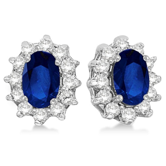 Oval Blue Sapphire & Diamond Accented Earrings 14k White Gold (2.05ct) - My Beautiful Daughters