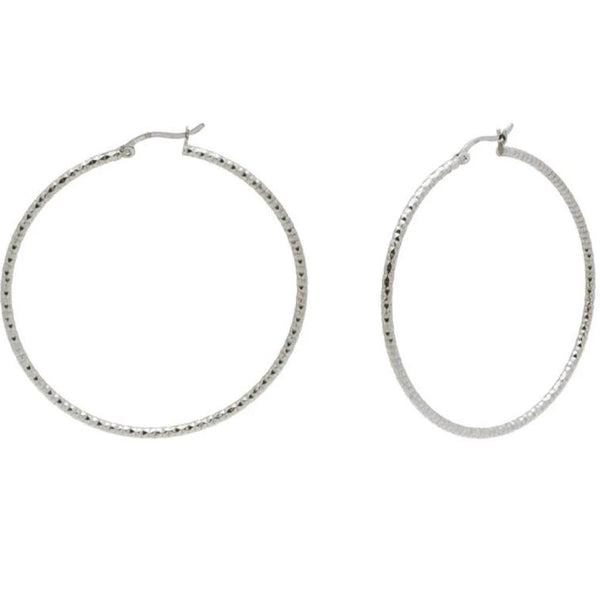 Diamante Cut Hoops (40mm) from The Fronay Collection