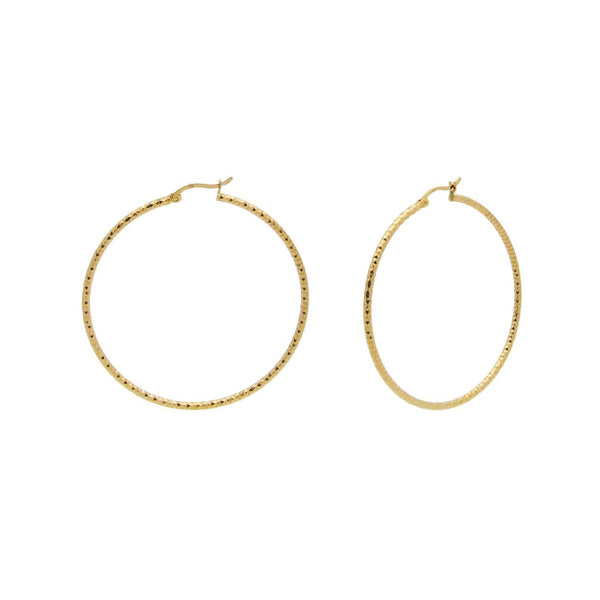 Golden Diamante Cut Hoops (40mm) from The Fronay Collection