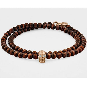 Double-Wrap Skull Bracelet in 18K Gold with Diamond Eyes, Red Tiger Eye and Snake Clasp - My Beautiful Daughters