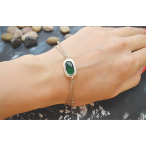 White Gold Double Layered Emerald Bracelet - My Beautiful Daughters