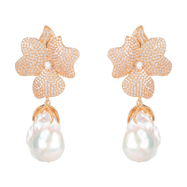 White Flower Baroque Pearl Drop Earring Rosegold - My Beautiful Daughters