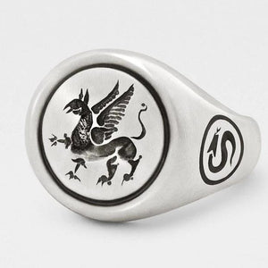 Griffin Signet Ring in Solid Sterling Silver - My Beautiful Daughters