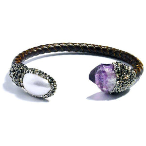 Isis Leather Amethyst and Pearl Bracelet - My Beautiful Daughters