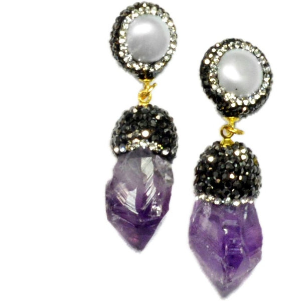 Isis Amethyst and Pearl Earrings - My Beautiful Daughters