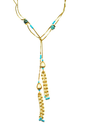 Turquoise Lariat Necklace Handcrafted by Gena Myint