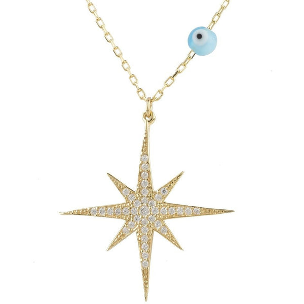 Starburst Opalite Evil Eye Necklace Gold - My Beautiful Daughters