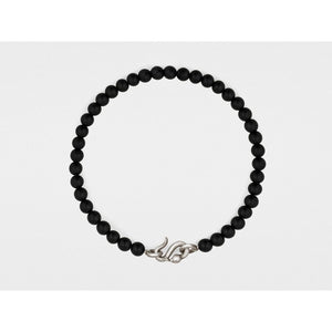 Snake Clasp Bracelet in Sterling Silver with Black Onyx by Snake Bones - My Beautiful Daughters