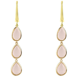 Sorrento Triple Drop Earring - Gold Rose Quartz - My Beautiful Daughters