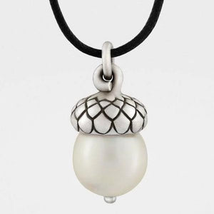 Acorn Pendant with Pearl from Snake Bones - My Beautiful Daughters
