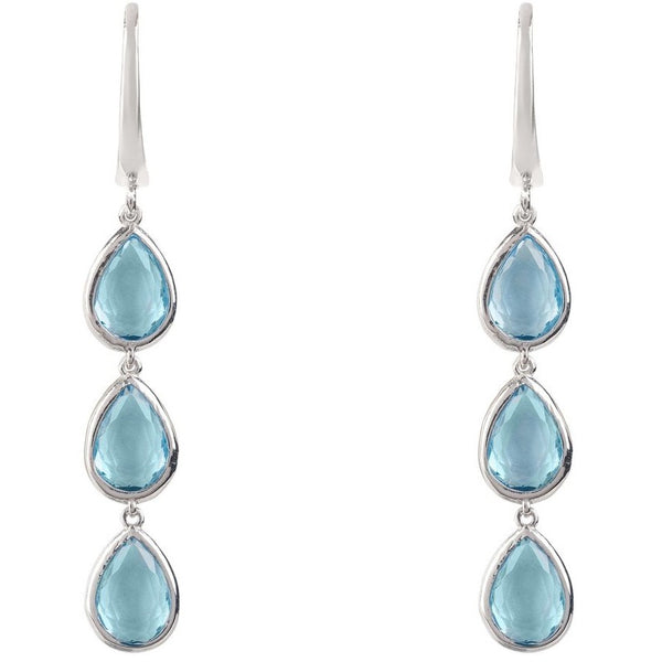 Sorrento Triple Drop Earring Silver Blue Topaz by Latelita London - My Beautiful Daughters