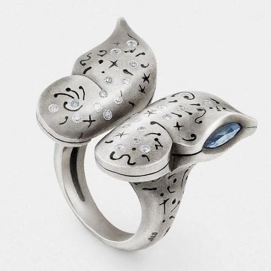Butterfly Ring with Diamonds in Sterling Silver from Snake Bones - My Beautiful Daughters