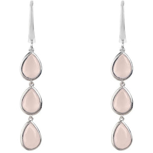 Sorrento Triple Drop Earring Silver Rose Quartz by Latelita London - My Beautiful Daughters