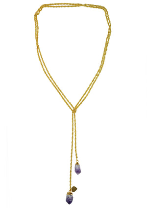 Amethyst Druzy Lariat Necklace Handcrafted by Gena Myint