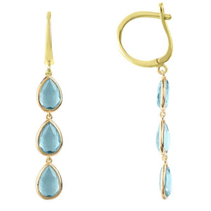 Sorrento Triple Drop Earring Gold Blue Topaz by Latelita London - My Beautiful Daughters