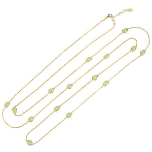 Venice Long Chain Necklace Gold Aqua Chalcedony - My Beautiful Daughters
