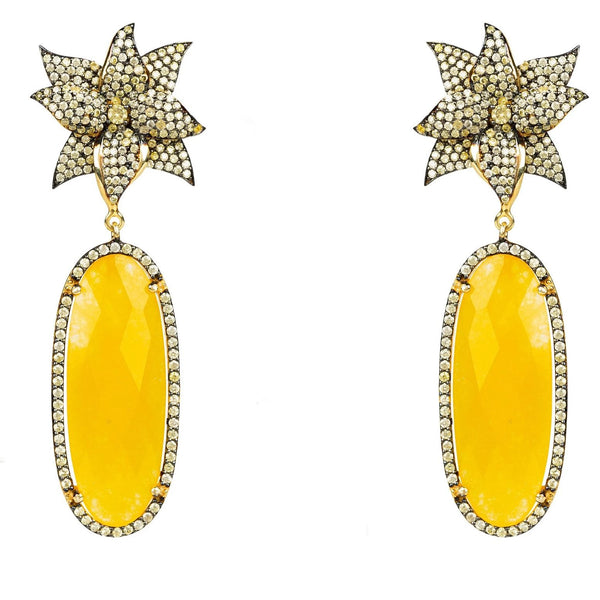 Lotus Flower Oval Yellow Chalcedony Earring gold - My Beautiful Daughters