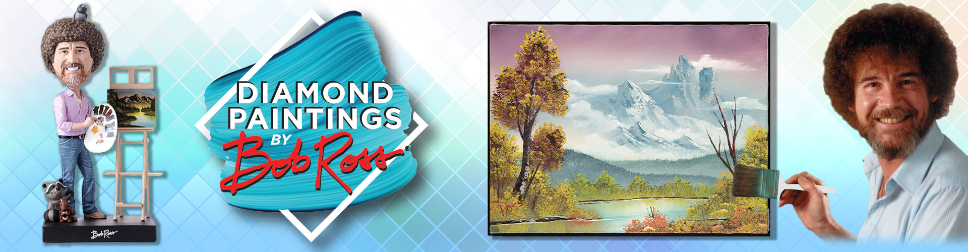 Enjoy our Bob Ross collection of bobble heads and Diamond Paintings