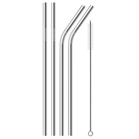 Stainless Steel Reusable Drinking Straws | 4 Pack + Cleaning Brush