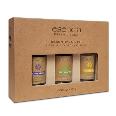 Esencia 100% Pure Essential Oils (10 mL) | 3-Pack | Lavender, Eucalyptus & Lemon Oils