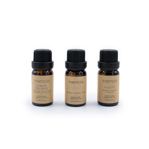 Esencia 100% Pure Essential Oils (10 mL) | 3-Pack | Happy, Stress Release & Sleep Well