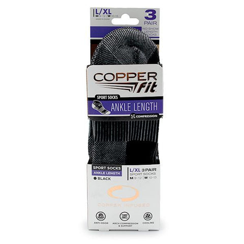 Copper Fit® Sport Socks (Ankle Length) | Unisex | 3-Pairs
