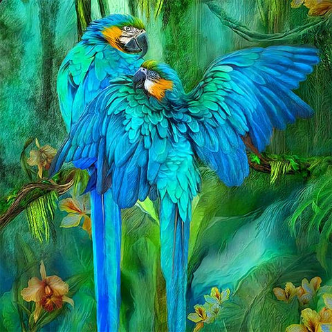 Studio Diamond Paintings by Bob Ross | Blue Macaws
